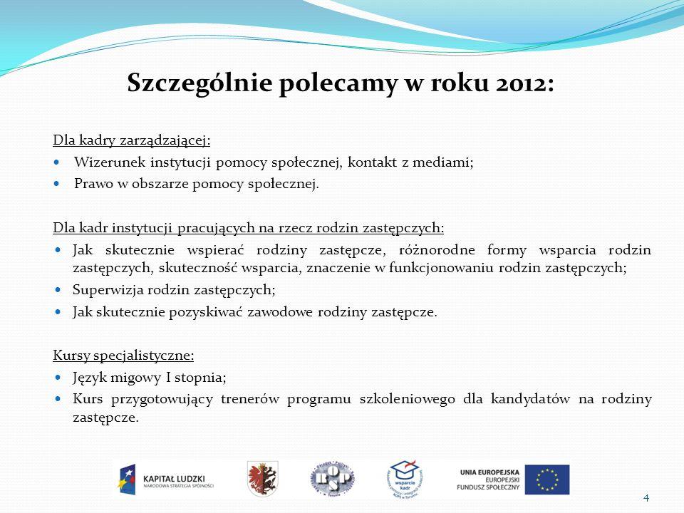 4 Szczególnie polecamy w roku 2012: Dla kadry zarządzającej: Wizerunek instytucji pomocy społecznej, kontakt z mediami; Prawo w obszarze pomocy społecznej.