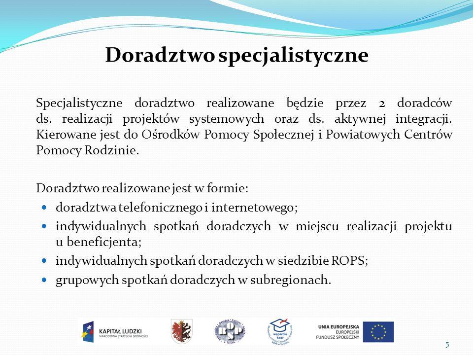 Doradztwo specjalistyczne Specjalistyczne doradztwo realizowane będzie przez 2 doradców ds.
