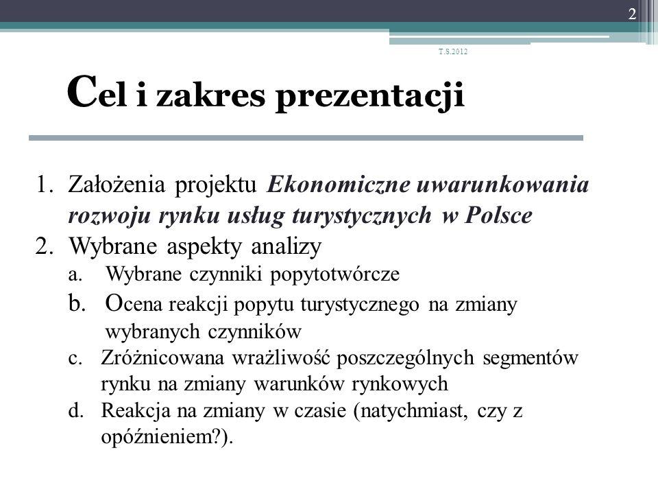 C el i zakres prezentacji 1.Założenia projektu Ekonomiczne uwarunkowania rozwoju rynku usług turystycznych w Polsce 2.Wybrane aspekty analizy a.Wybran