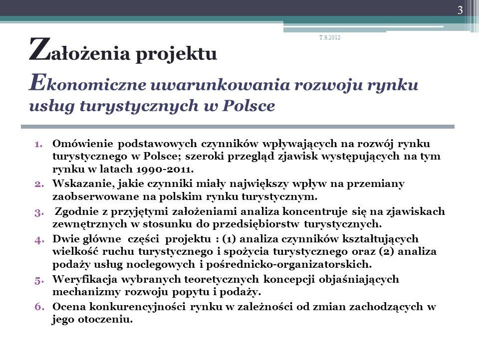 Z ałożenia projektu E konomiczne uwarunkowania rozwoju rynku usług turystycznych w Polsce 1.Omówienie podstawowych czynników wpływających na rozwój ry
