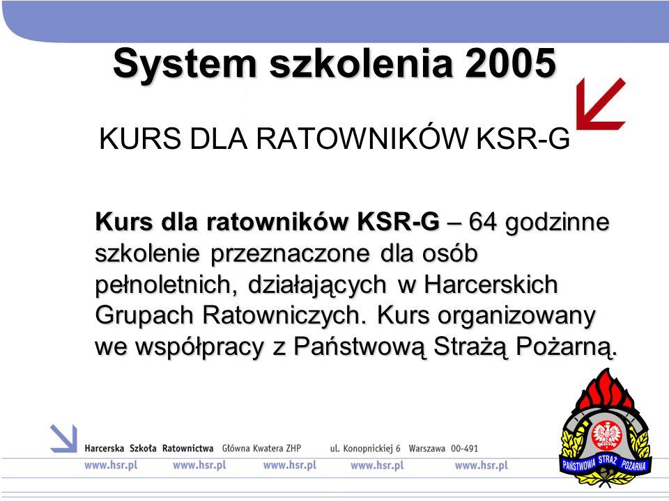 System szkolenia 2005 KURS DLA RATOWNIKÓW KSR-G Kurs dla ratowników KSR-G – 64 godzinne szkolenie przeznaczone dla osób pełnoletnich, działających w H