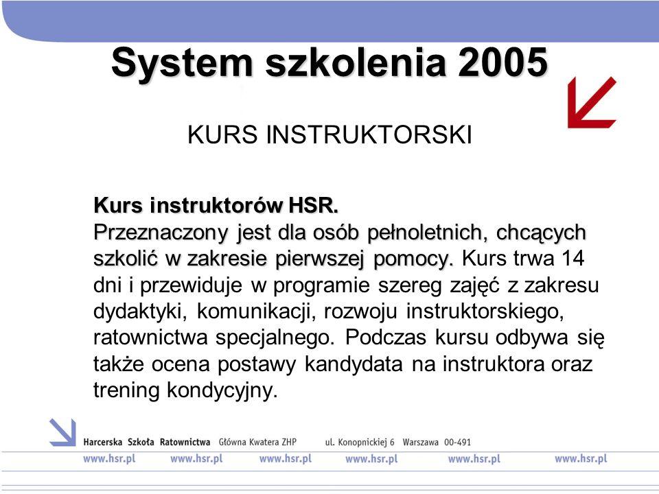 System szkolenia 2005 KURS INSTRUKTORSKI Kurs instruktorów HSR. Przeznaczony jest dla osób pełnoletnich, chcących szkolić w zakresie pierwszej pomocy.