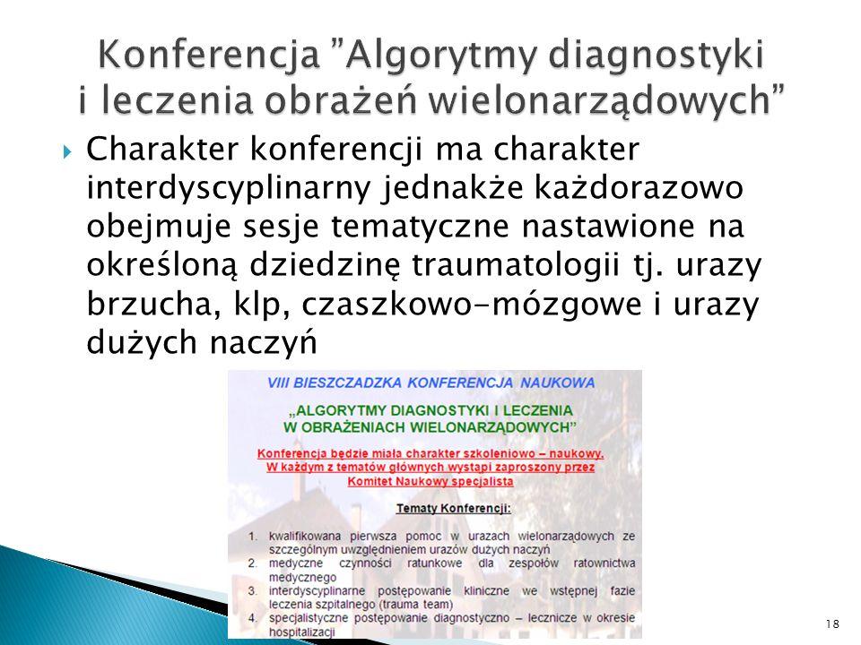 Charakter konferencji ma charakter interdyscyplinarny jednakże każdorazowo obejmuje sesje tematyczne nastawione na określoną dziedzinę traumatologii t