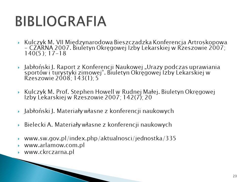 Kulczyk M. VII Międzynarodowa Bieszczadzka Konferencja Artroskopowa - CZARNA 2007. Biuletyn Okręgowej Izby Lekarskiej w Rzeszowie 2007; 140(5 ); 17-18