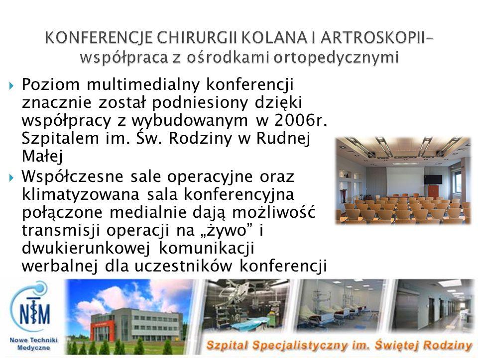 Poziom multimedialny konferencji znacznie został podniesiony dzięki współpracy z wybudowanym w 2006r. Szpitalem im. Św. Rodziny w Rudnej Małej Współcz