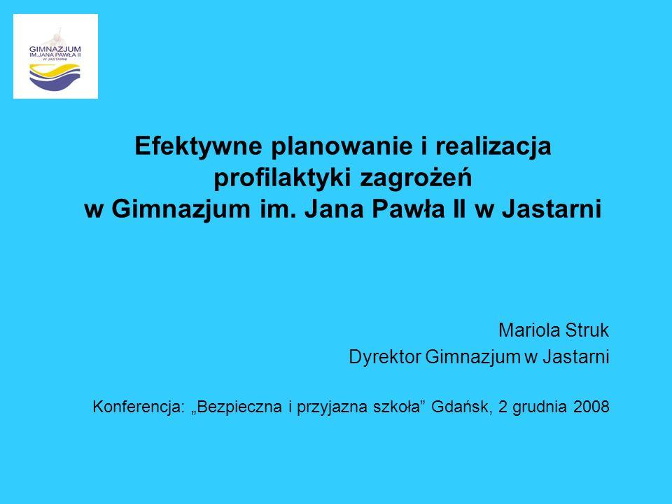 Efektywne planowanie i realizacja profilaktyki zagrożeń w Gimnazjum im. Jana Pawła II w Jastarni Mariola Struk Dyrektor Gimnazjum w Jastarni Konferenc