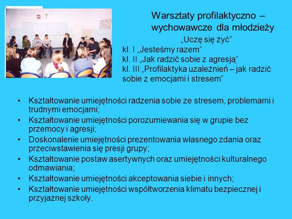 Warsztaty profilaktyczno – wychowawcze dla młodzieży Uczę się żyć kl. I Jesteśmy razem kl. II Jak radzić sobie z agresją kl. III Profilaktyka uzależni