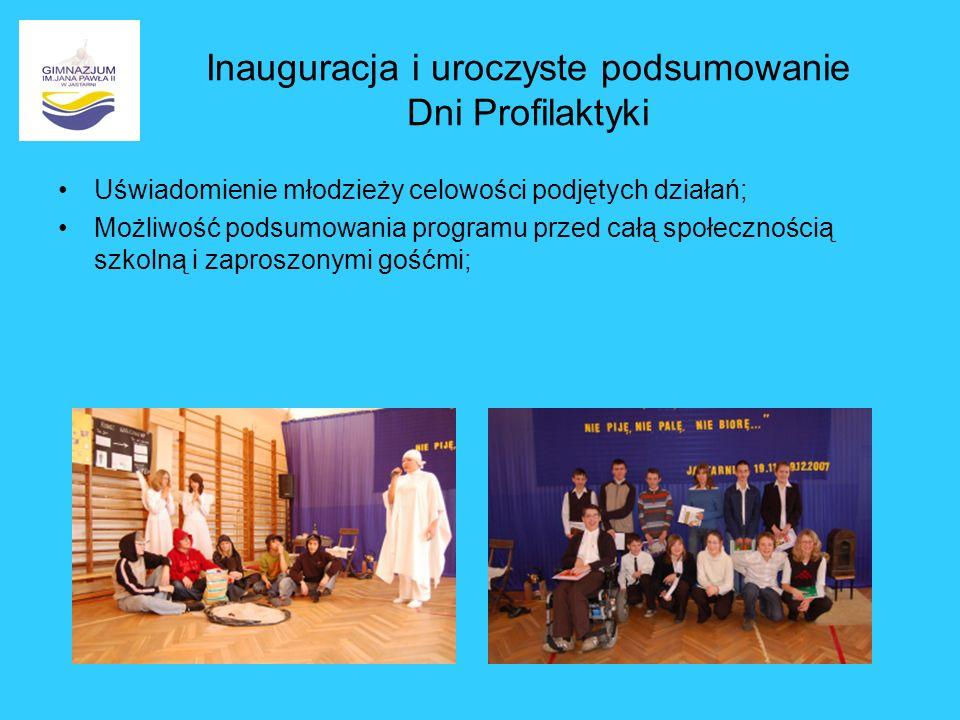 Inauguracja i uroczyste podsumowanie Dni Profilaktyki Uświadomienie młodzieży celowości podjętych działań; Możliwość podsumowania programu przed całą