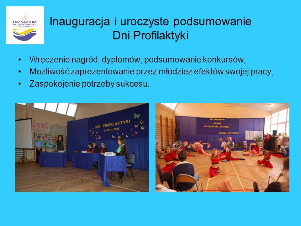 Inauguracja i uroczyste podsumowanie Dni Profilaktyki Wręczenie nagród, dyplomów, podsumowanie konkursów; Możliwość zaprezentowanie przez młodzież efe