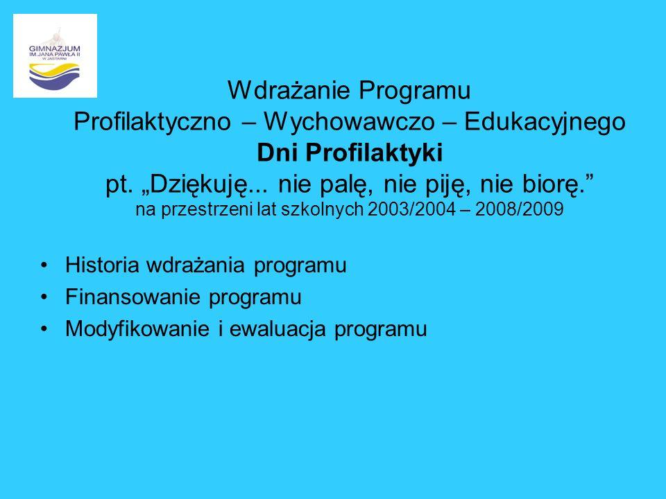 Wdrażanie Programu Profilaktyczno – Wychowawczo – Edukacyjnego Dni Profilaktyki pt. Dziękuję... nie palę, nie piję, nie biorę. na przestrzeni lat szko