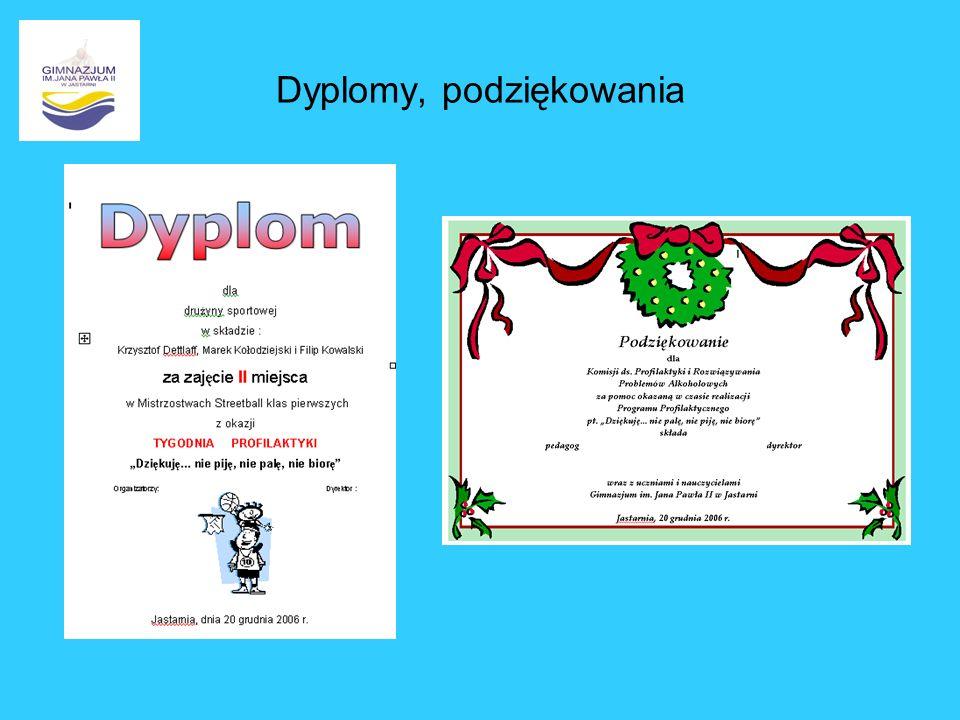 Dyplomy, podziękowania