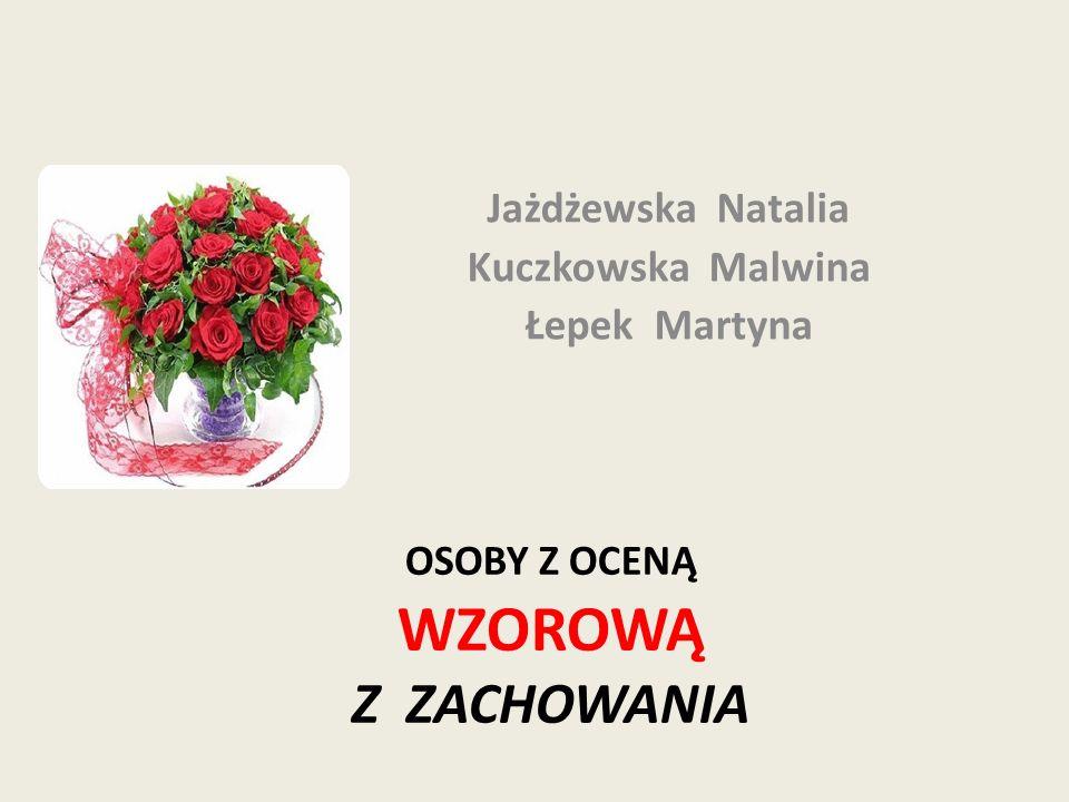OSOBY Z OCENĄ WZOROWĄ Z ZACHOWANIA Jażdżewska Natalia Kuczkowska Malwina Łepek Martyna
