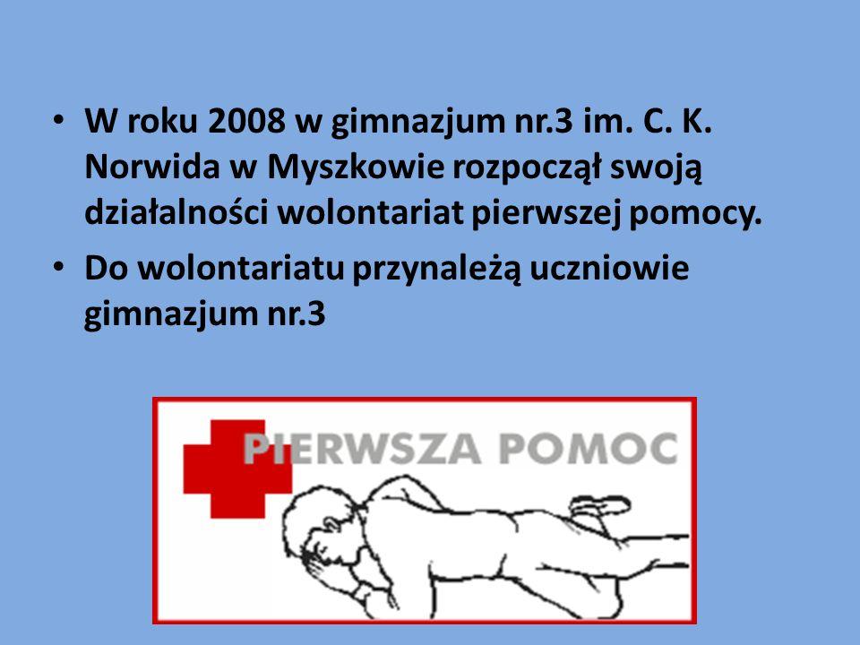W roku 2008 w gimnazjum nr.3 im. C. K. Norwida w Myszkowie rozpoczął swoją działalności wolontariat pierwszej pomocy. Do wolontariatu przynależą uczni