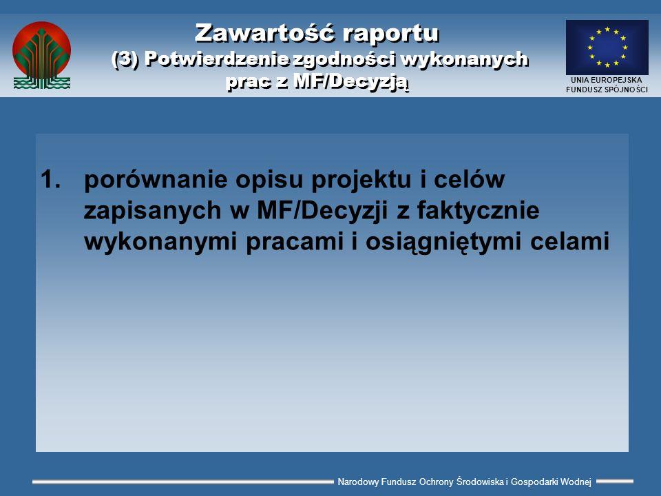 Narodowy Fundusz Ochrony Środowiska i Gospodarki Wodnej UNIA EUROPEJSKA FUNDUSZ SPÓJNOŚCI Zawartość raportu (3) Potwierdzenie zgodności wykonanych pra