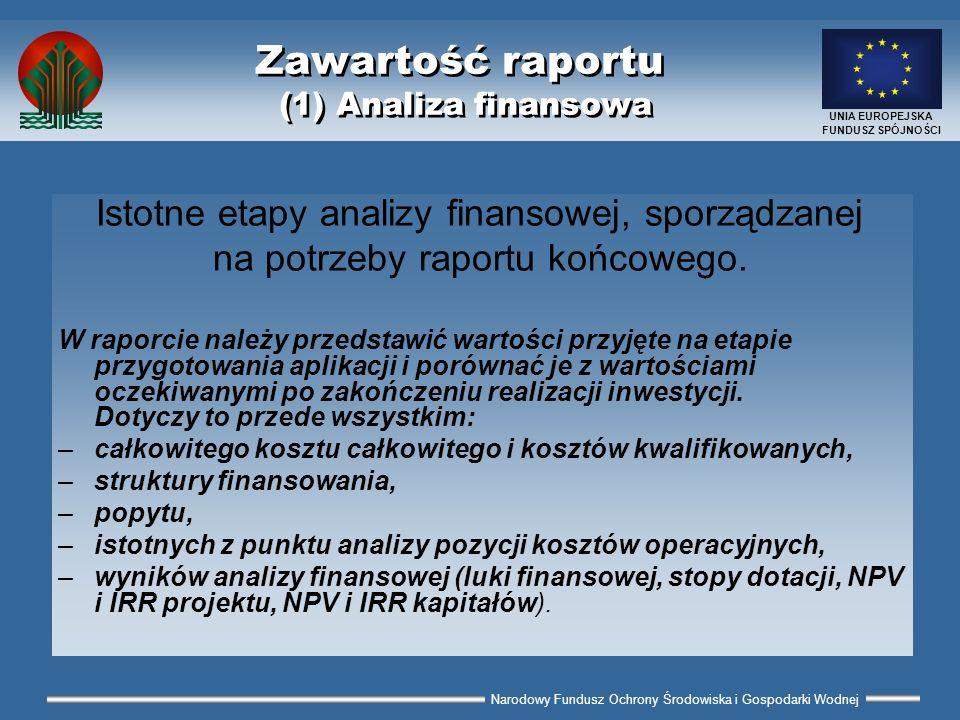 Narodowy Fundusz Ochrony Środowiska i Gospodarki Wodnej UNIA EUROPEJSKA FUNDUSZ SPÓJNOŚCI Zawartość raportu (1) Analiza finansowa Istotne etapy analiz