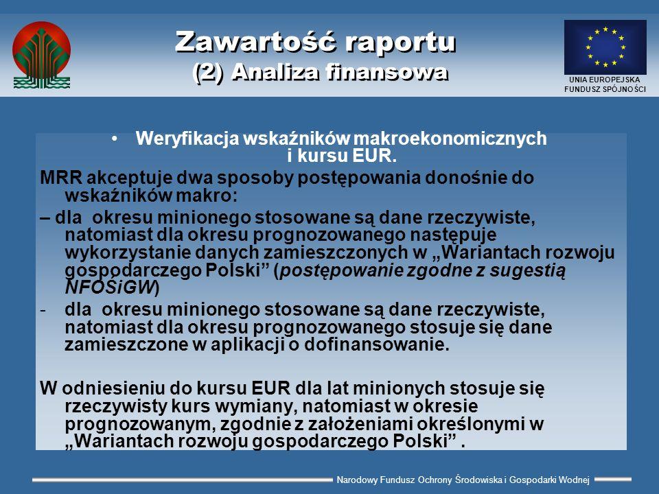 Narodowy Fundusz Ochrony Środowiska i Gospodarki Wodnej UNIA EUROPEJSKA FUNDUSZ SPÓJNOŚCI Zawartość raportu (2) Analiza finansowa Weryfikacja wskaźnik