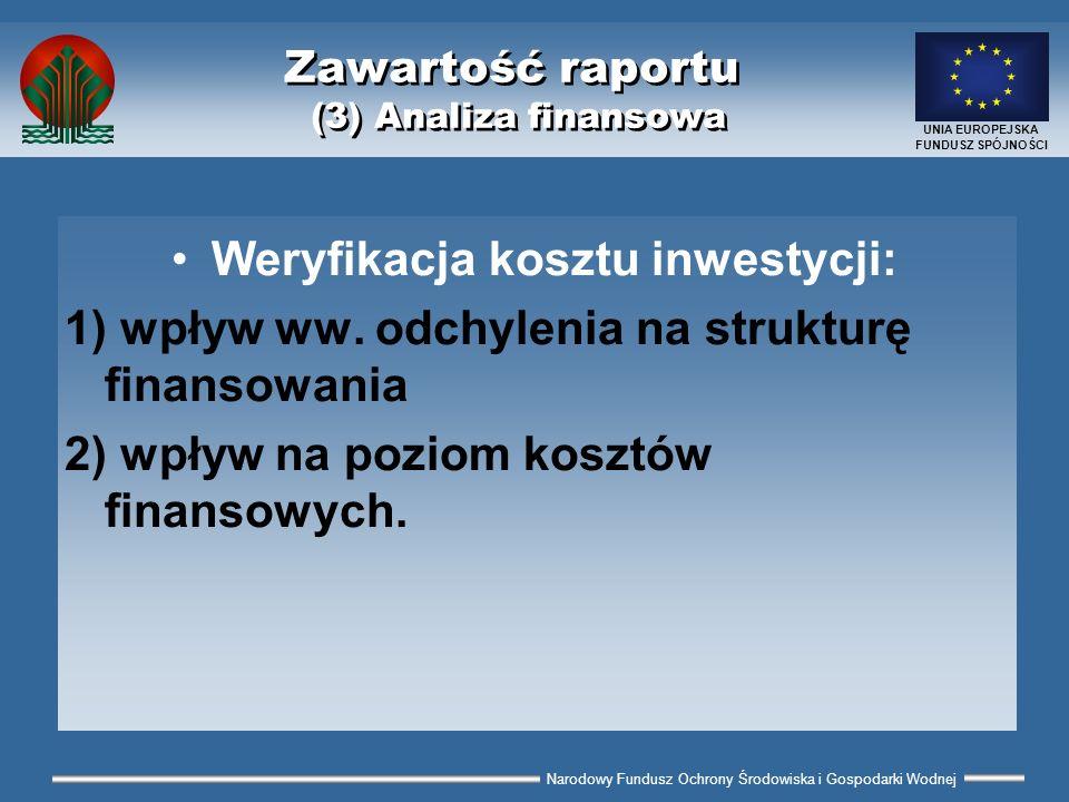 Narodowy Fundusz Ochrony Środowiska i Gospodarki Wodnej UNIA EUROPEJSKA FUNDUSZ SPÓJNOŚCI Zawartość raportu (3) Analiza finansowa Weryfikacja kosztu i