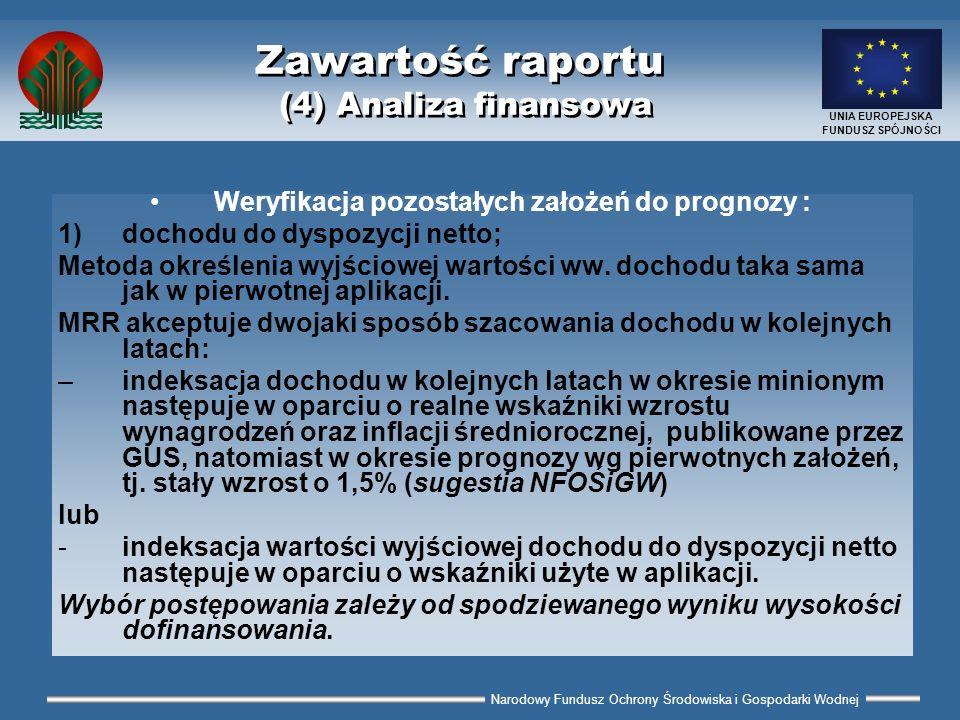 Narodowy Fundusz Ochrony Środowiska i Gospodarki Wodnej UNIA EUROPEJSKA FUNDUSZ SPÓJNOŚCI Zawartość raportu (4) Analiza finansowa Weryfikacja pozostał