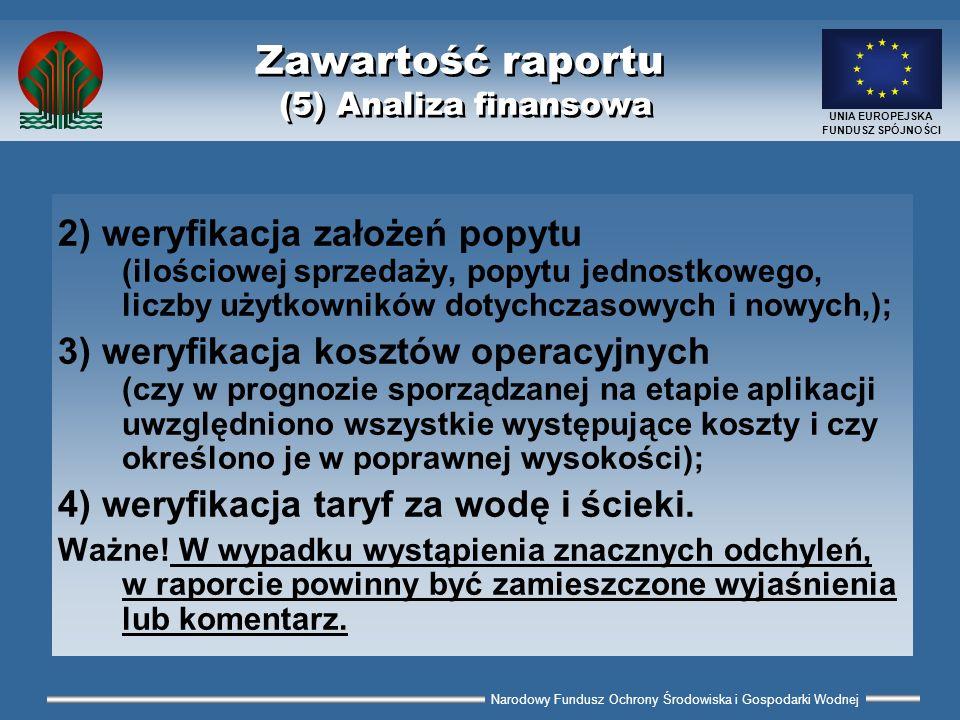 Narodowy Fundusz Ochrony Środowiska i Gospodarki Wodnej UNIA EUROPEJSKA FUNDUSZ SPÓJNOŚCI Zawartość raportu (5) Analiza finansowa 2) weryfikacja założ