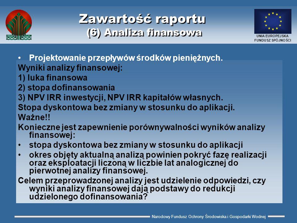 Narodowy Fundusz Ochrony Środowiska i Gospodarki Wodnej UNIA EUROPEJSKA FUNDUSZ SPÓJNOŚCI Zawartość raportu (6) Analiza finansowa Projektowanie przepł