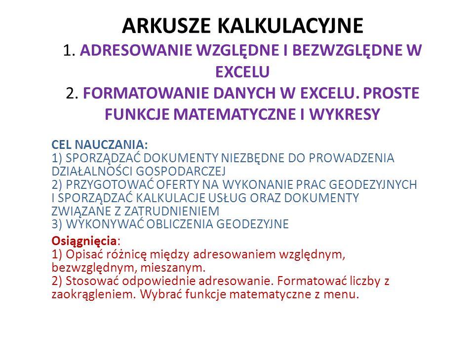 ARKUSZE KALKULACYJNE 1.ADRESOWANIE WZGLĘDNE I BEZWZGLĘDNE W EXCELU 2.