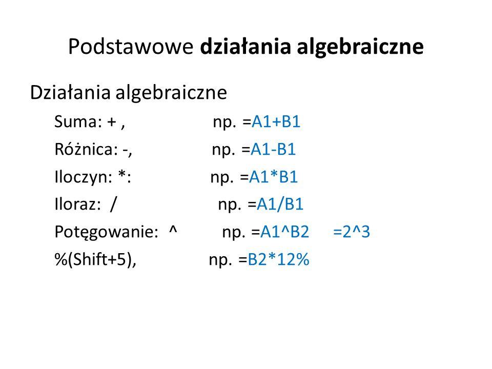 Podstawowe działania algebraiczne Działania algebraiczne Suma: +, np.