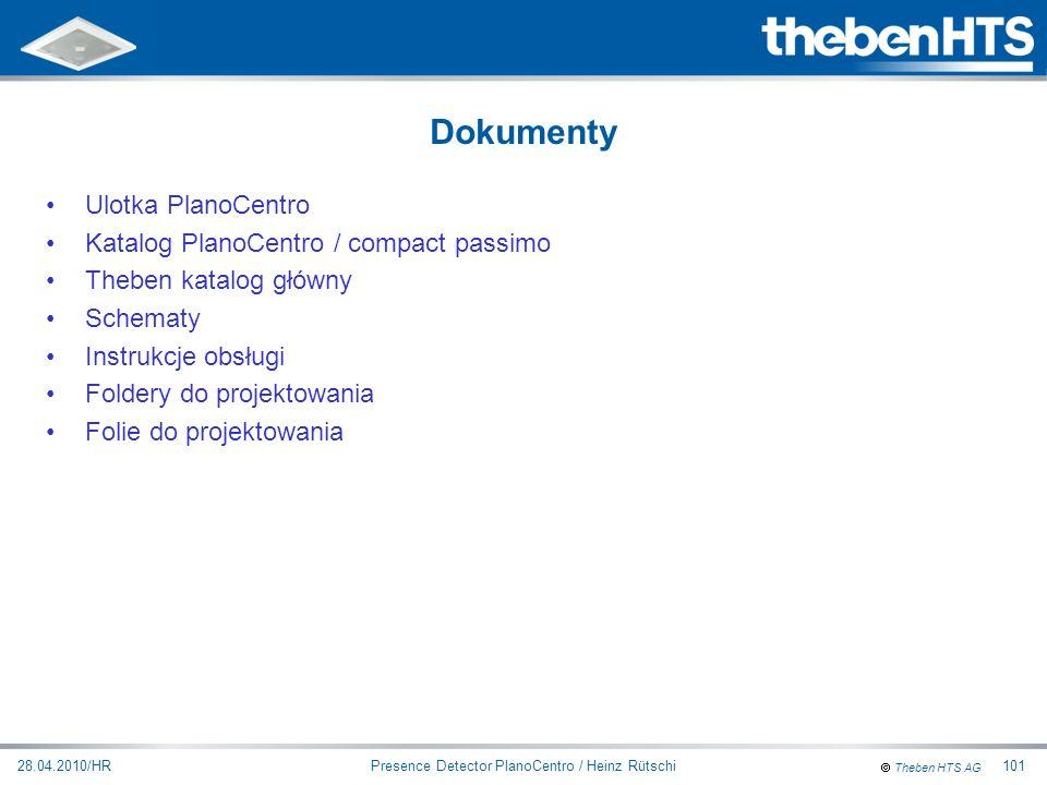Theben HTS AG Presence Detector PlanoCentro / Heinz Rütschi28.04.2010/HR101 Ulotka PlanoCentro Katalog PlanoCentro / compact passimo Theben katalog gł