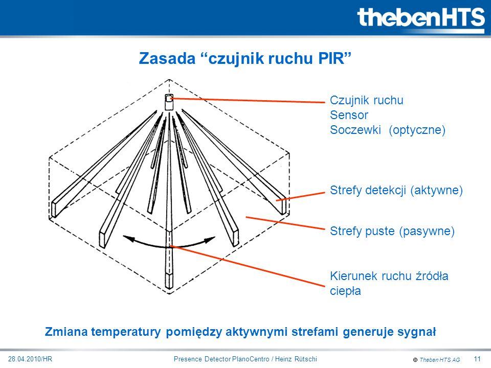 Theben HTS AG Presence Detector PlanoCentro / Heinz Rütschi28.04.2010/HR11 Czujnik ruchu Sensor Soczewki (optyczne) Strefy detekcji (aktywne) Kierunek