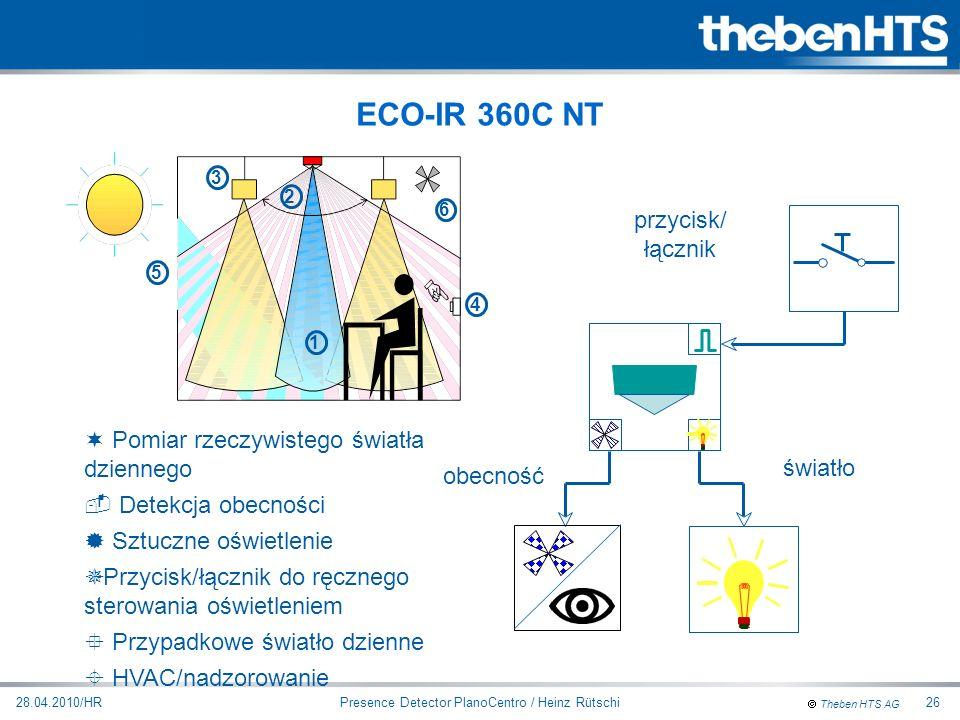Theben HTS AG Presence Detector PlanoCentro / Heinz Rütschi28.04.2010/HR26 obecność światło przycisk/ łącznik ¬ Pomiar rzeczywistego światła dziennego