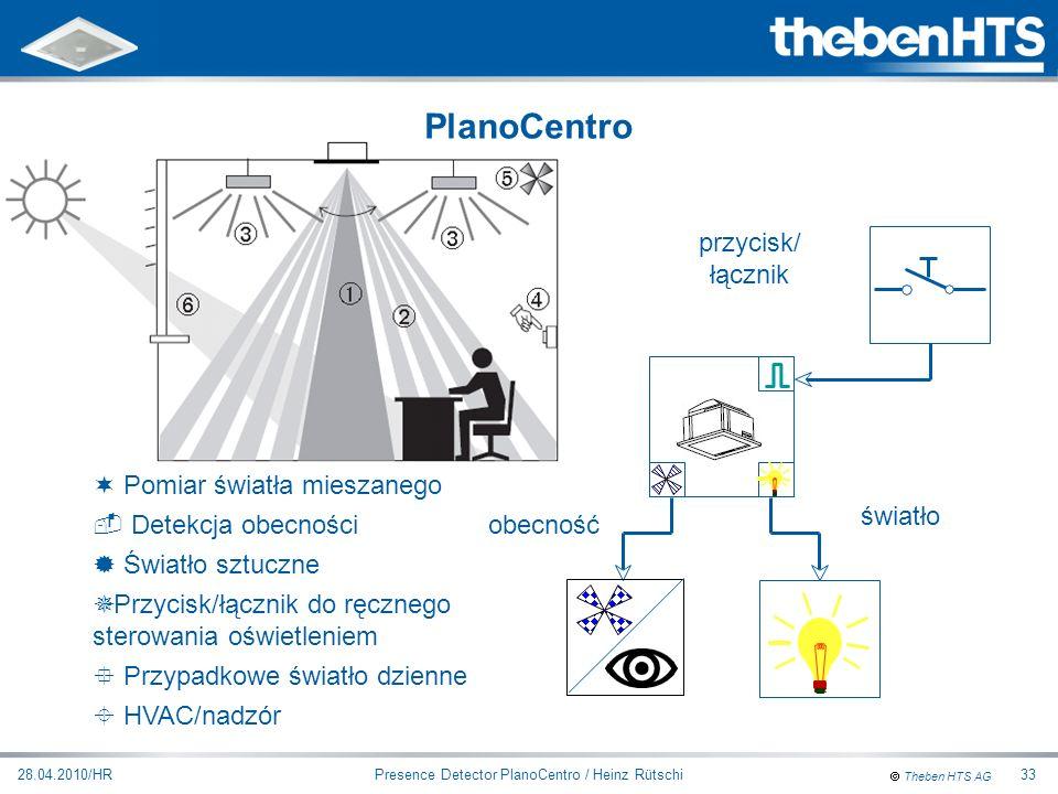 Theben HTS AG Presence Detector PlanoCentro / Heinz Rütschi28.04.2010/HR33 obecność światło przycisk/ łącznik ¬ Pomiar światła mieszanego  Detekcja o