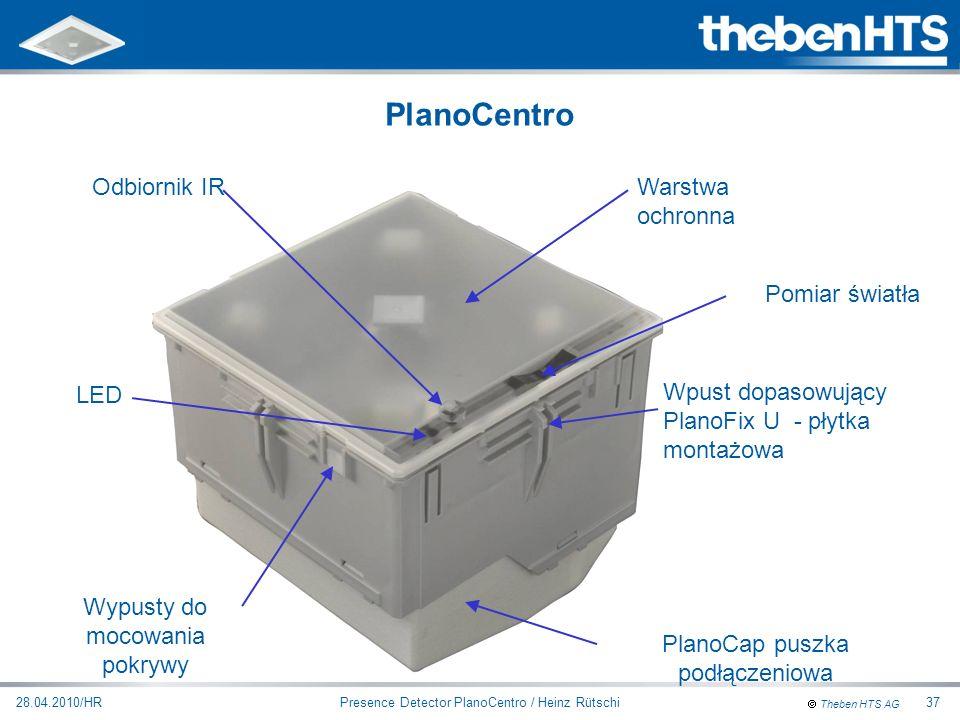 Theben HTS AG Presence Detector PlanoCentro / Heinz Rütschi28.04.2010/HR37 Warstwa ochronna Odbiornik IR Pomiar światła Wypusty do mocowania pokrywy L