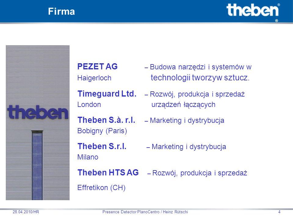 Theben HTS AG Presence Detector PlanoCentro / Heinz Rütschi28.04.2010/HR25 Cechy produktu Pasywny czujnik obecności na podczerwień do montażu w suficie Kwadratowy 360° obszar detekcji Automatyczna funkcja HVAC (ogrzewanie, wentylacja, klimatyzacja) i kontrola oświetlenia jak również funkcja nadzorowania Pomiar rzeczywistego światła dziennego Wyjście łączeniowe oświetlenia (przekaźnik, 230V) Kontrola oświetlenia z wartością progową natężenia oświetlenia i dostosowującym (samouczącym) się czasem opóźnienia wyłączenia Ograniczenie poboru prądu dla łączeń elektronicznych zapłonników do lamp Do wyboru tryb łączenie pełny- lub półautomat Przycisk lub łącznik do sterowania ręcznego Funkcja impulsowa do sterowania łącznikiem oświetlenia schodowego Wyjście łączeniowe obecności (styk bezpotencjałowy) Kontrola HVAC z opóźnieniem czasu za- i wyłączenia; redukuje się czas reakcji dla funkcji nadzorowania Opcjonalny pilot do zdalnej kontroli przez serwis i użytkownika Czujnik obecności ECO-IR 360C NT
