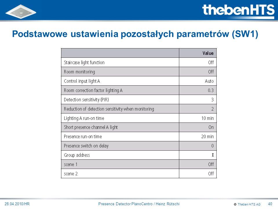Theben HTS AG Presence Detector PlanoCentro / Heinz Rütschi28.04.2010/HR40 Podstawowe ustawienia pozostałych parametrów (SW1)