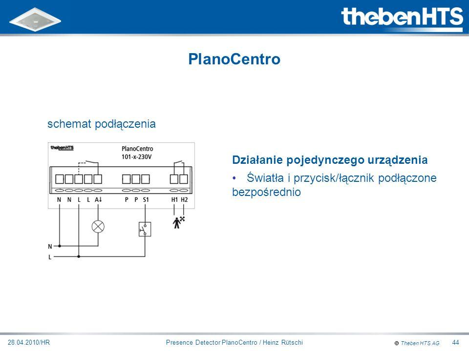 Theben HTS AG Presence Detector PlanoCentro / Heinz Rütschi28.04.2010/HR44 Działanie pojedynczego urządzenia Światła i przycisk/łącznik podłączone bez