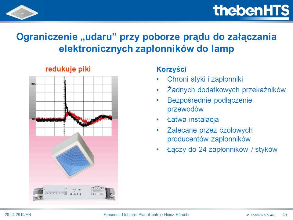 Theben HTS AG Presence Detector PlanoCentro / Heinz Rütschi28.04.2010/HR45 Ograniczenie udaru przy poborze prądu do załączania elektronicznych zapłonn