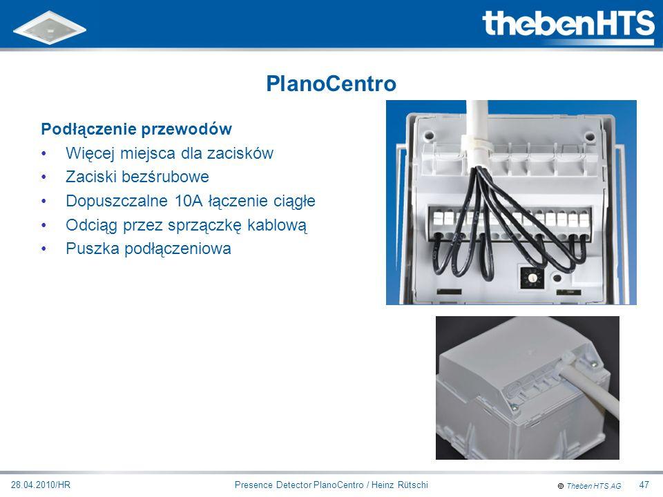 Theben HTS AG Presence Detector PlanoCentro / Heinz Rütschi28.04.2010/HR47 Podłączenie przewodów Więcej miejsca dla zacisków Zaciski bezśrubowe Dopusz