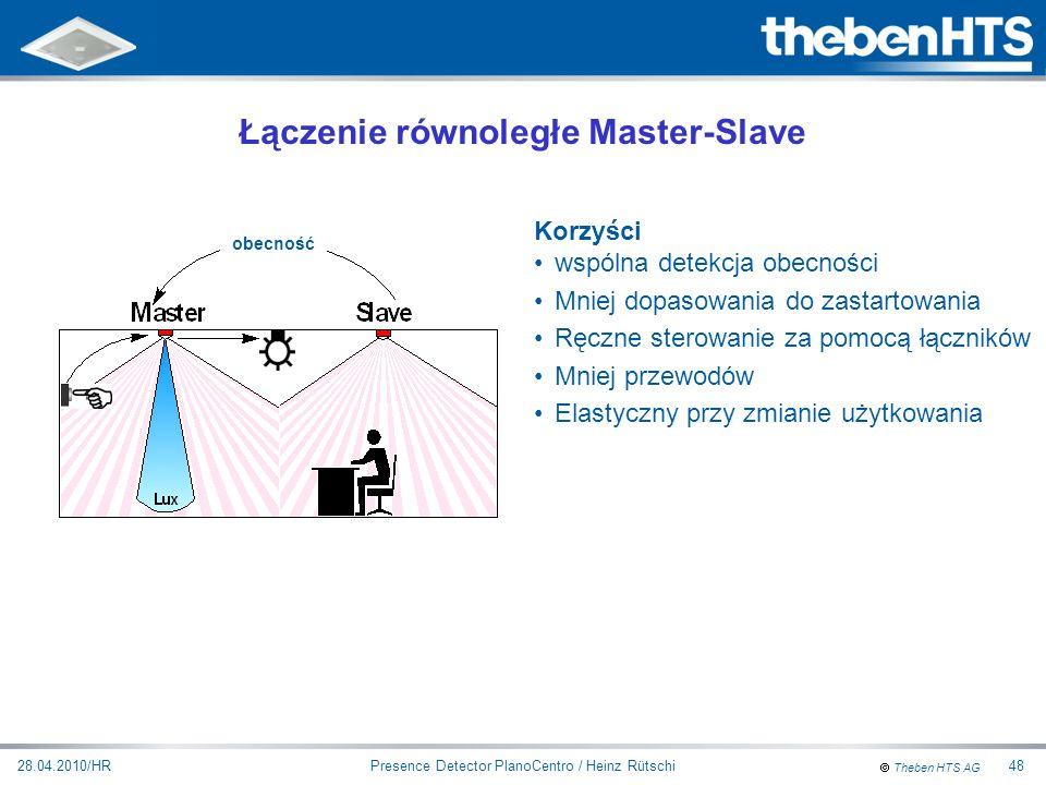 Theben HTS AG Presence Detector PlanoCentro / Heinz Rütschi28.04.2010/HR48 Korzyści wspólna detekcja obecności Mniej dopasowania do zastartowania Ręcz