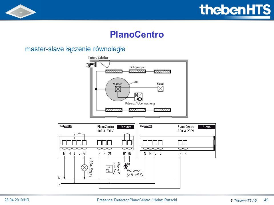 Theben HTS AG Presence Detector PlanoCentro / Heinz Rütschi28.04.2010/HR49 PlanoCentro master-slave łączenie równoległe