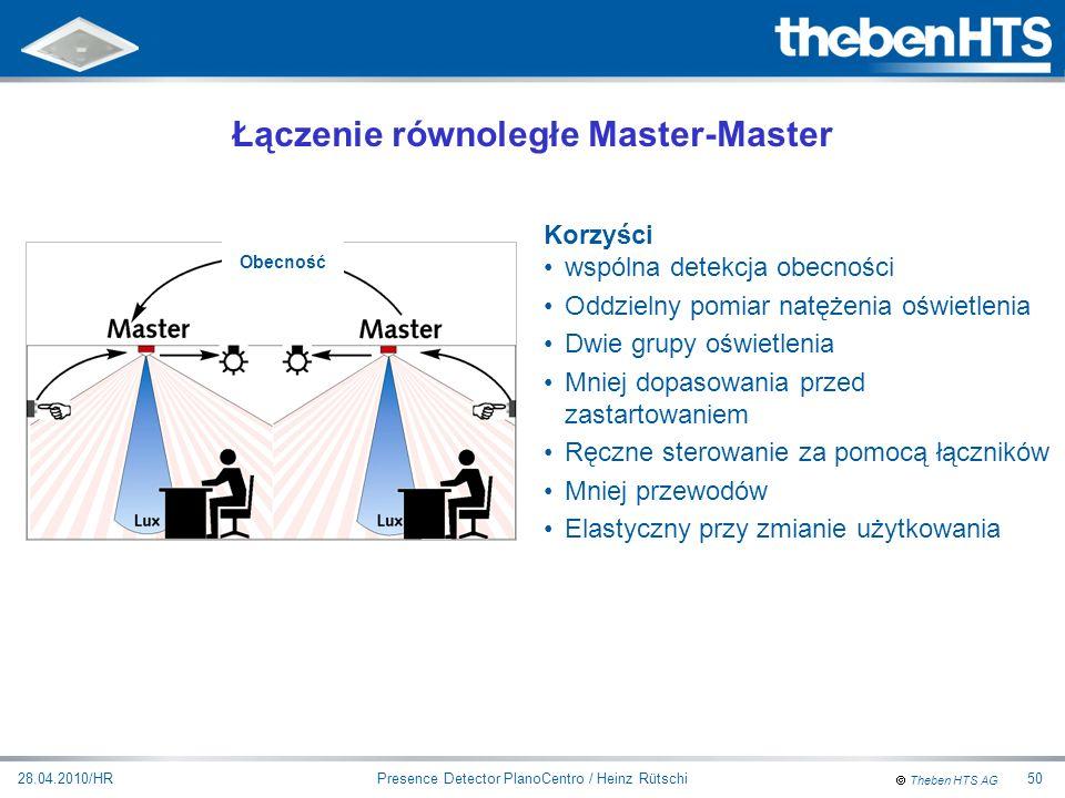 Theben HTS AG Presence Detector PlanoCentro / Heinz Rütschi28.04.2010/HR50 Korzyści wspólna detekcja obecności Oddzielny pomiar natężenia oświetlenia