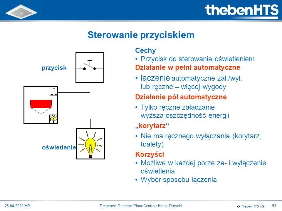 Theben HTS AG Presence Detector PlanoCentro / Heinz Rütschi28.04.2010/HR53 Sterowanie przyciskiem Cechy Przycisk do sterowania oświetleniem Działanie