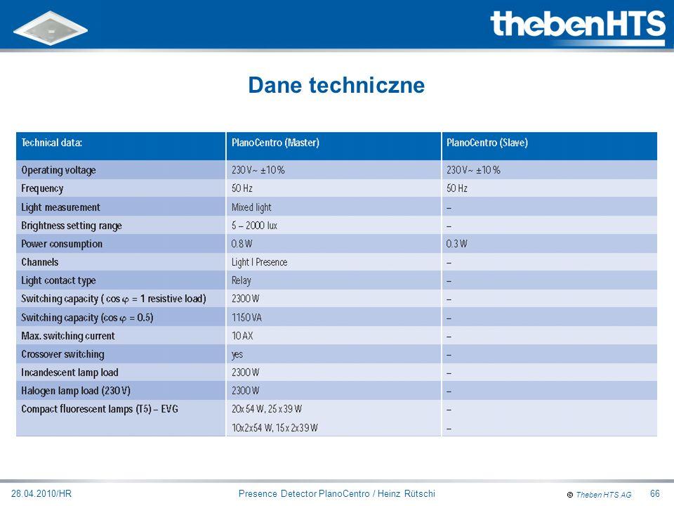 Theben HTS AG Presence Detector PlanoCentro / Heinz Rütschi28.04.2010/HR66 Dane techniczne