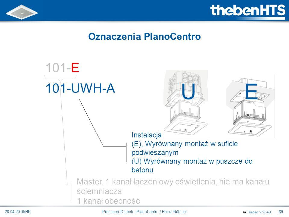 Theben HTS AG Presence Detector PlanoCentro / Heinz Rütschi28.04.2010/HR69 101-EWH-A Master, 1 kanał łączeniowy oświetlenia, nie ma kanału ściemniacza