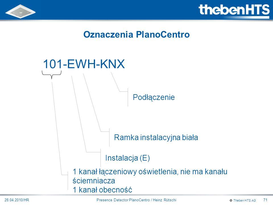 Theben HTS AG Presence Detector PlanoCentro / Heinz Rütschi28.04.2010/HR71 101-EWH-KNX 1 kanał łączeniowy oświetlenia, nie ma kanału ściemniacza 1 kan