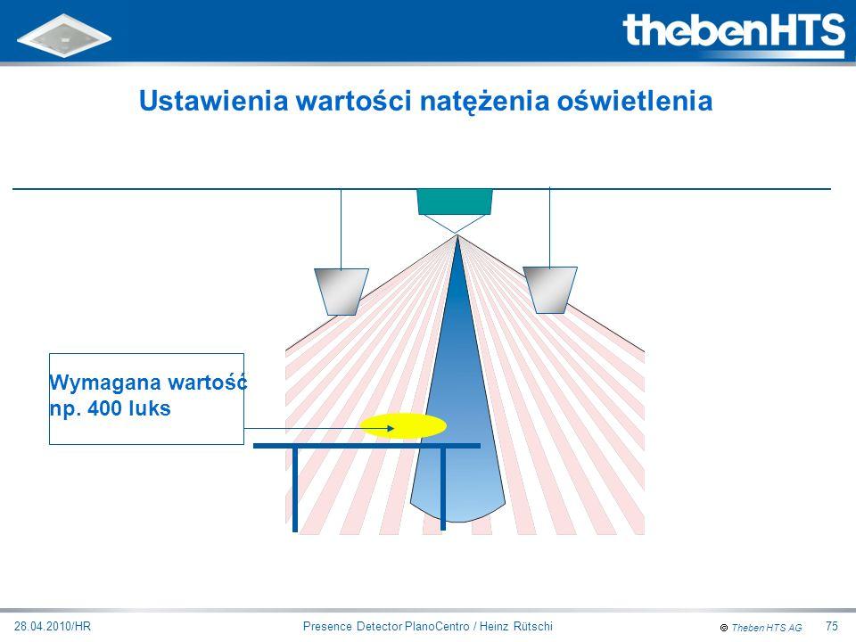 Theben HTS AG Presence Detector PlanoCentro / Heinz Rütschi28.04.2010/HR75 Wymagana wartość np. 400 luks Ustawienia wartości natężenia oświetlenia