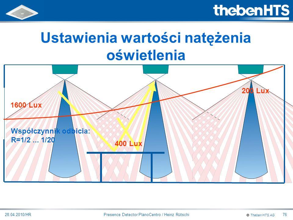 Theben HTS AG Presence Detector PlanoCentro / Heinz Rütschi28.04.2010/HR76 Ustawienia wartości natężenia oświetlenia Współczynnik odbicia: R=1/2... 1/