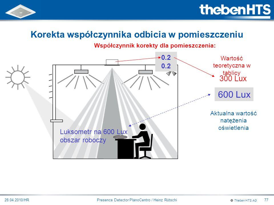 Theben HTS AG Presence Detector PlanoCentro / Heinz Rütschi28.04.2010/HR77 0.3 Współczynnik korekty dla pomieszczenia: 0.2 300 Lux Luksometr na 600 Lu