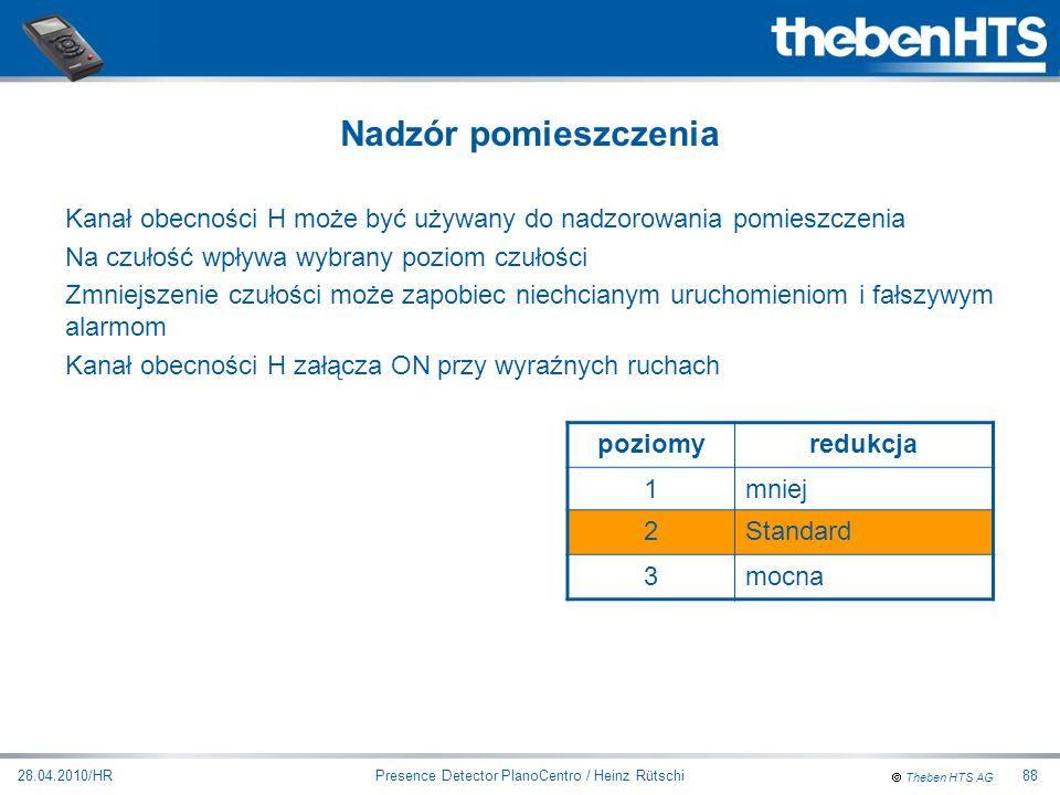 Theben HTS AG Presence Detector PlanoCentro / Heinz Rütschi28.04.2010/HR88 Kanał obecności H może być używany do nadzorowania pomieszczenia Na czułość