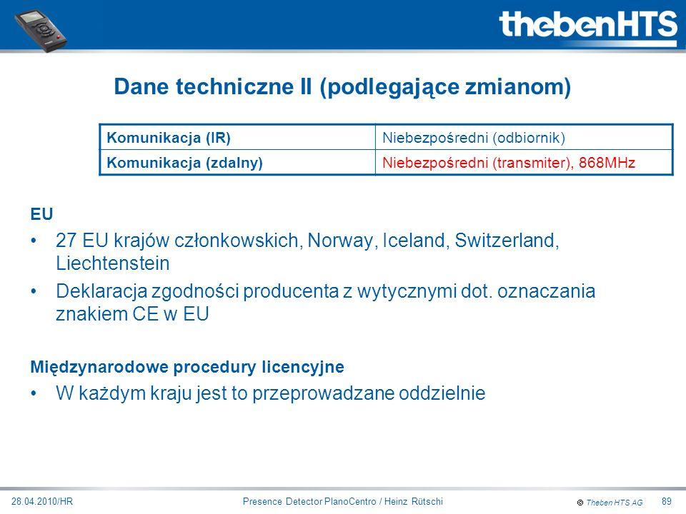 Theben HTS AG Presence Detector PlanoCentro / Heinz Rütschi28.04.2010/HR89 EU 27 EU krajów członkowskich, Norway, Iceland, Switzerland, Liechtenstein
