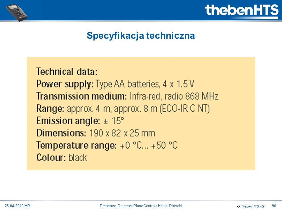 Theben HTS AG Presence Detector PlanoCentro / Heinz Rütschi28.04.2010/HR90 Specyfikacja techniczna