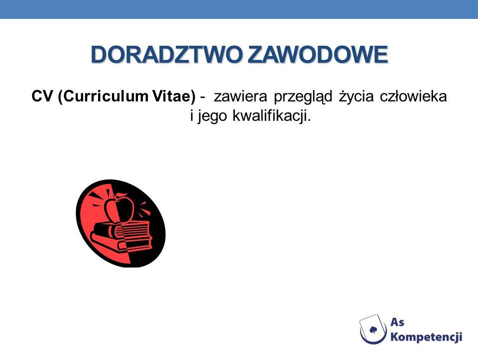 DORADZTWO ZAWODOWE CV (Curriculum Vitae) - zawiera przegląd życia człowieka i jego kwalifikacji.